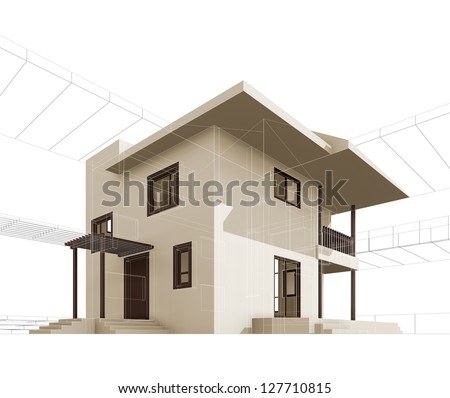 Cottage. High quality 3d render - stock photo