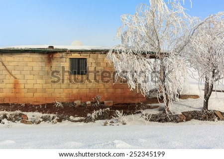 Cottage in a rural area covered with snow