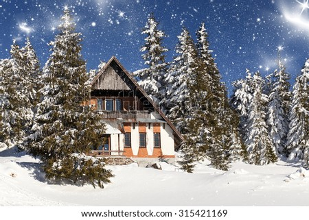 Cottage in the mountains at winter