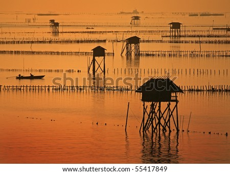 Cottage located in the sea. The accommodation of the fishermen. Phetchaburi Province Thailand - stock photo