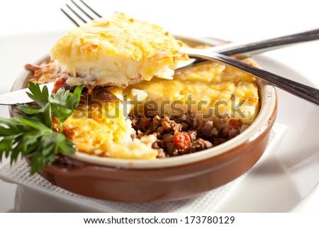 Cottage Pie with Mushrooms Sauce - stock photo