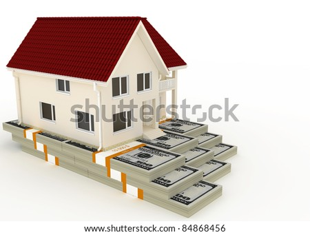 Cottage stands on the packs of dollars - stock photo