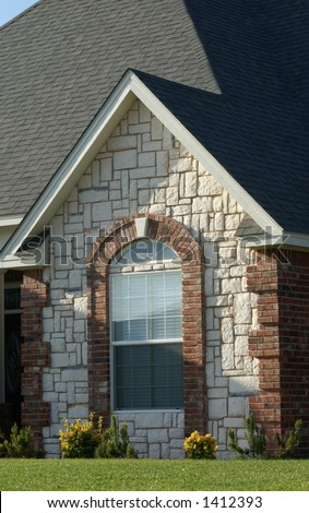 Cottage style brick stone design on stock photo 1412393 for Houses with stone accents