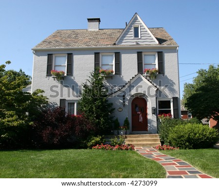 Cottage Style Colonial Home 1 - stock photo