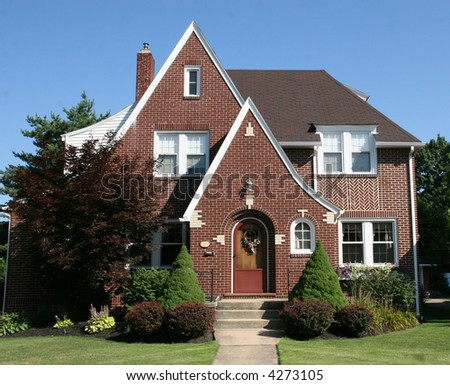 Cottage Style Colonial Home 3 - stock photo