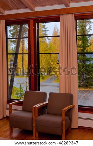 Cottage window autumn view