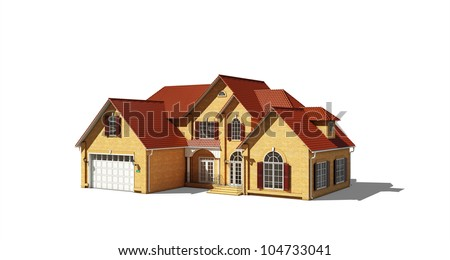 cottage with a red roof on a white background - stock photo