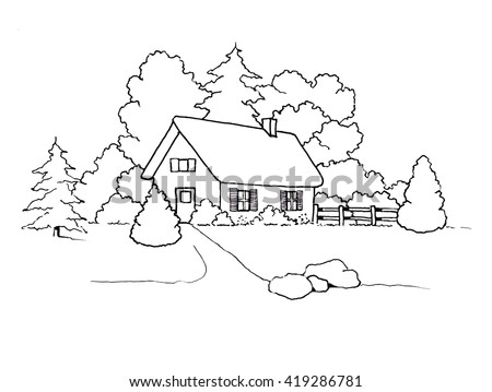 Cottage With Trees Page To Color Landscape House