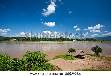Cottages along the Mekong River take from Chiang Khong.Thailand - stock photo
