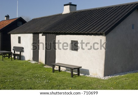 Cottages at the coast on the island of Gotland in Sweden