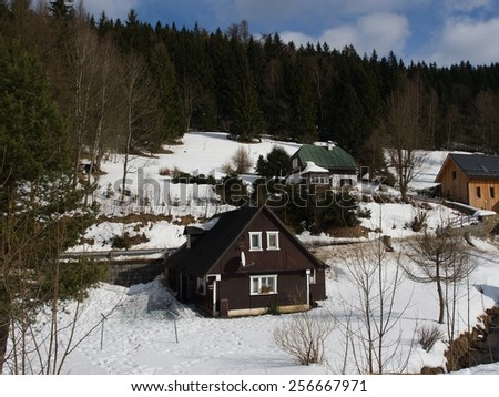 Cottages at the czech mountains on the nord of Czech republic - stock photo