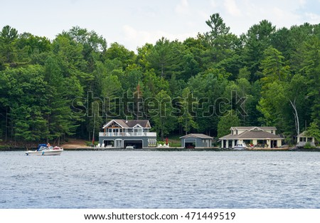 Cottages, boats, and  and boathouses