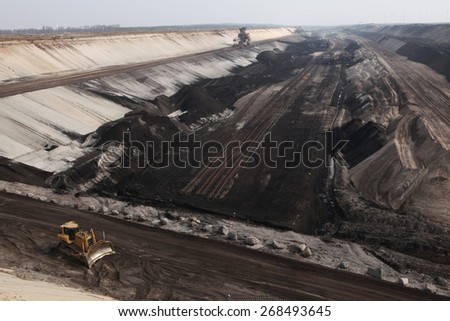 COTTBUS, GERMANY - MARCH 13, 2011: Open-pit coal mining Cottbus Nord near Cottbus, Lower Lusatia, Brandenburg, Germany. - stock photo