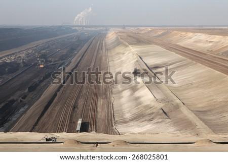 COTTBUS, GERMANY - MARCH 13, 2011: Open-pit coal mining Jaenschwalde near Cottbus, Lower Lusatia, Brandenburg, Germany. - stock photo