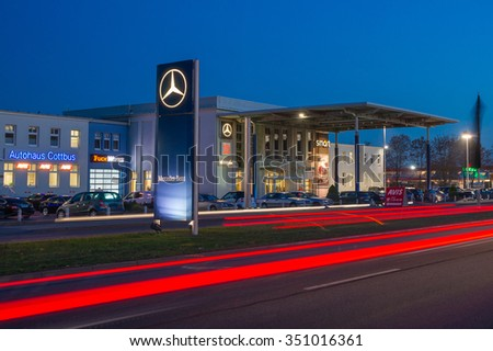 Cottbus,Germany, October 28., 2015: Mercedes-Benz sign at authorized Mercedes-Benz  dealer showroom in Cottbus. - stock photo