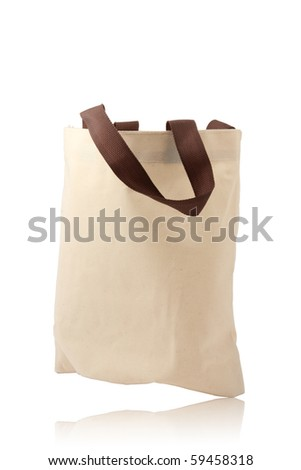cotton brown bag - stock photo