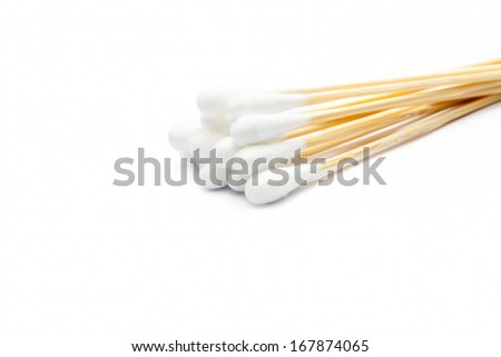 Cotton buds on white background - stock photo