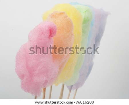 cotton candy in rainbow colours - stock photo