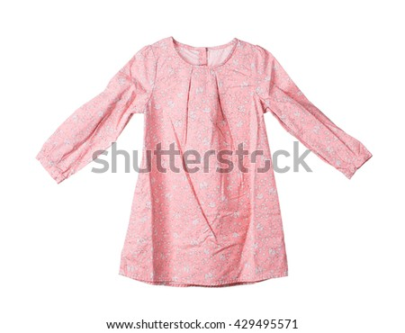 Cotton childrens dress. Isolated on the white background. - stock photo