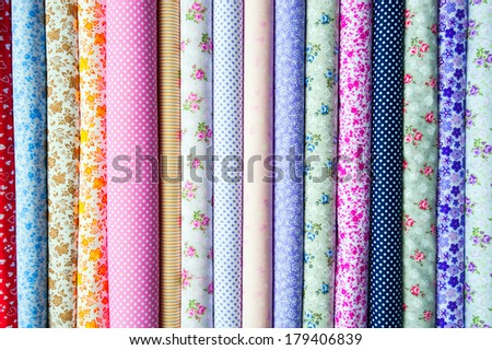 Cotton cloth of different colors - stock photo