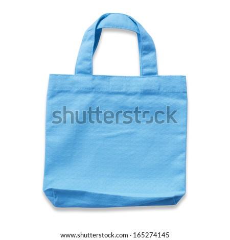 cotton clothes bag on white background  - stock photo