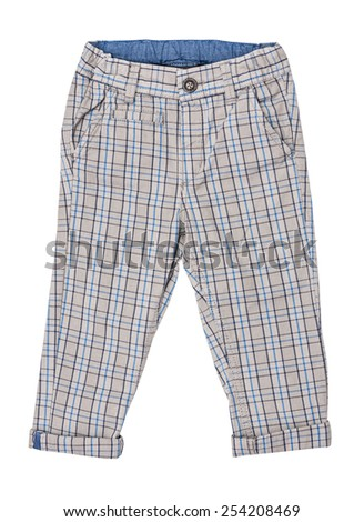 Cotton elegant children's trousers, checkered, in a blue cage, isolated on the white - stock photo