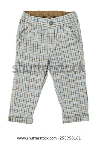 Cotton elegant children's trousers, checkered,  in a braun cage, isolated on the white - stock photo