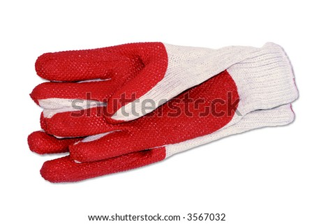 Cotton garden gloves on white background. (with clipping path) - stock photo