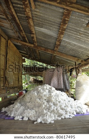 Cotton Material Group Pile Process - stock photo