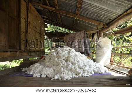 Cotton Material Process Group Pile - stock photo