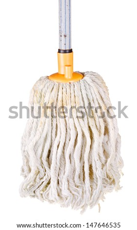 cotton mop isolated on white background - stock photo