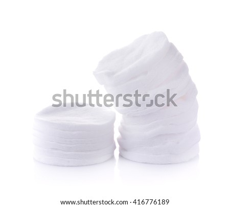 cotton pads on the white background