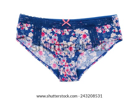 Cotton Panties in a floral pattern. Isolate on white. - stock photo