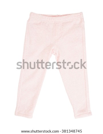 Cotton pink sport pants for childrens. Isolated on a white background. - stock photo