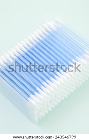 Cotton swabs in a box, elevated view - stock photo