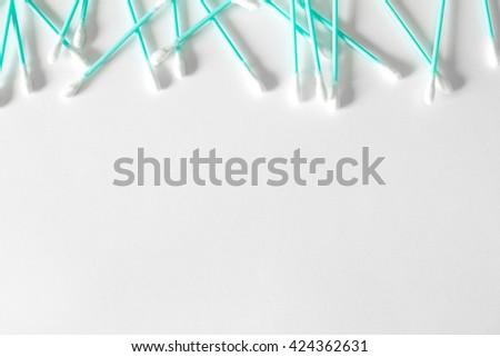 Cotton swabs isolated on white - stock photo