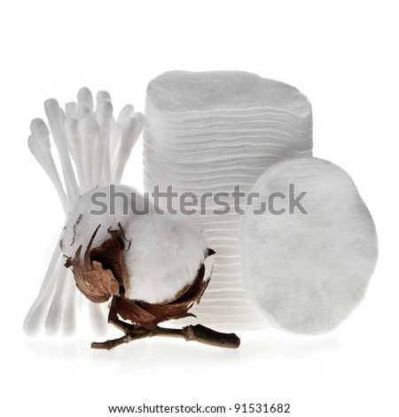 Cotton swabs , pads ,  sticks and cotton bolls set isolated on white background - stock photo