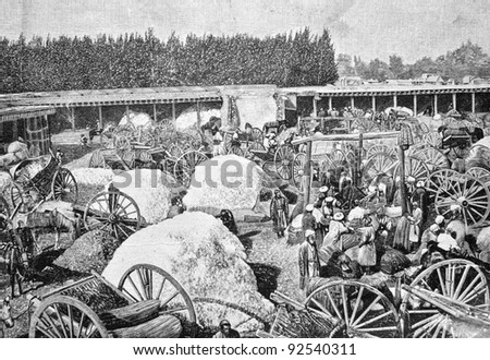 "Cotton trade in Russia. Engraving on steel by Shlipper. Published in literary magazine ""Niva"", ""Publishing house of A.F. Marx», Saint-Petersburg, Russia, 1893 - stock photo"