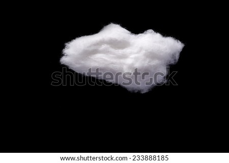 Cotton Wool Cloud isolated on Black Background with Text Space. Clouds Made of Real Cotton - stock photo