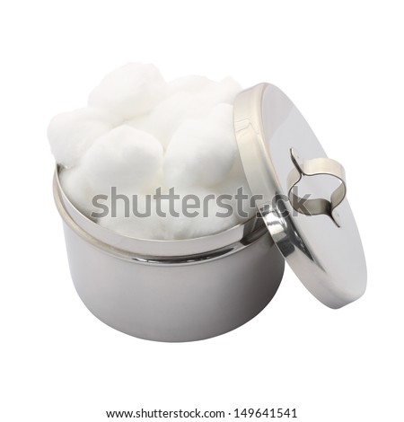 Cotton wool container and cover on white background.