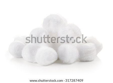 cotton wool on white background - stock photo