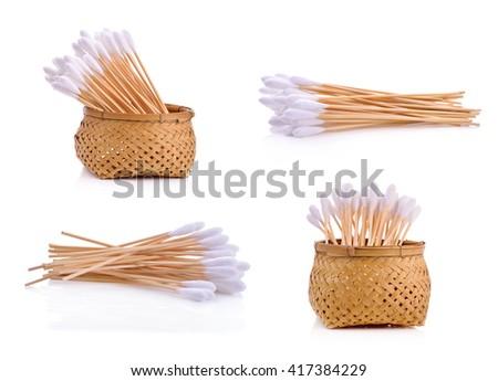 Cotton wool sticks isolated on white - stock photo