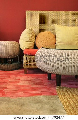 Couch and table in a modern house - home interiors. - stock photo