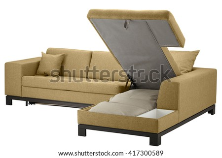 Couch bed with storage. Isolated on white include clipping path