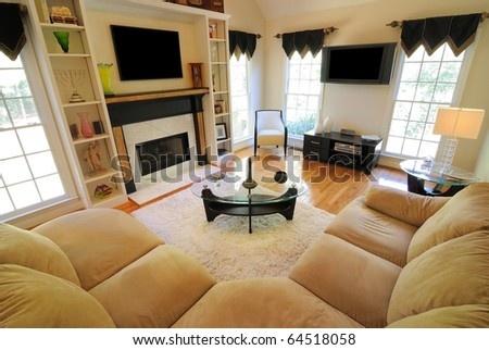 Couch in a modern home living room. - stock photo