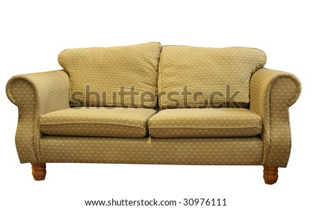 Couch isolated with clipping path. - stock photo