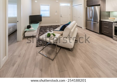 Couch, sofa in the family, living room with the luxury modern kitchen and TV set at the back. Interior design. - stock photo