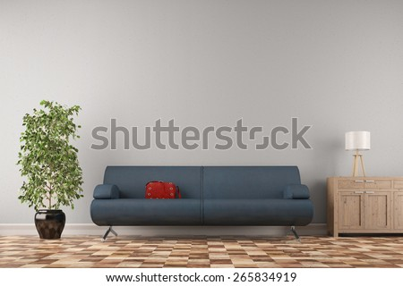 Couch with red handbag in front of a wall in living room (3D Rendering) - stock photo