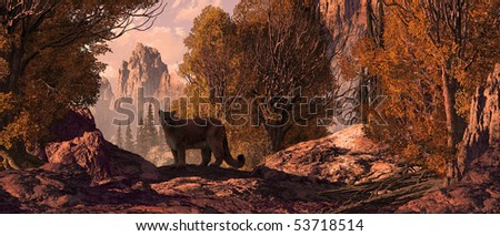 Cougar in a Rocky Mountain landscape. - stock photo
