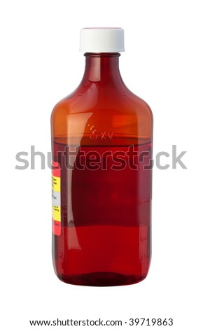 Cough Syrup Medicine Bottle with clipping path isolated on white - stock photo